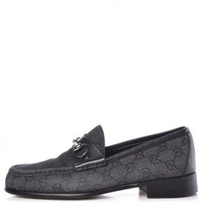 Gucci | Black Monogram Horse Bit Loafers